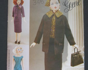 """Gene, 1955 Ensemble, Vogue 704 or 7223, for Gene Marshall and other 15.5"""" dolls by  Mel Odom, fashion doll dress, jacket, coat, hat  and bag"""