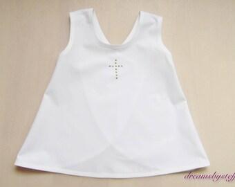 White short white christening dress, 3 month-18month, 100% cotton