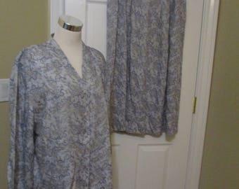 Pendelton 2pc Blouse Skirt Suit Outfit size 14 blue Paisley
