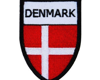 """Danish Nation Flag """"Denmark"""" Country Iron-On Patch World Sport Team Fan Applique"""