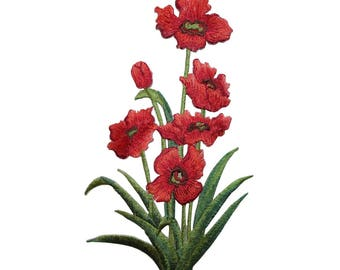 ID 6700 Red Blossom Flower Plant Patch Garden Bush Embroidered Iron On Applique