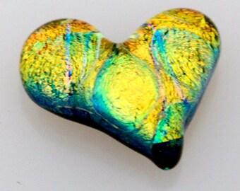 Reserved for Elaine H. Dichroic Cabochon, Heart Cabochon, Heart Embellishment, Glass Heart, Golden Heart Tile, Mosaic Tile