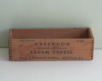Vintage Axelrod's Cream Cheese Dovetailed Wood Box