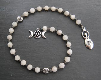 Moon Goddess Pagan Prayer Beads / Witch's / Witches' Ladder. Moonstone Larvikite Pagan Wicca Witch Druid Diana Hecate Ceridwen Arianrhod.