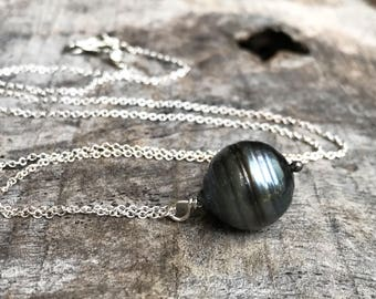 Tahitian Pearl Pendant Necklace - Solid Sterling Silver - Single Genuine Baroque Tahitian Pearl - Large Blue/Grey/Brown Saltwater Pearl