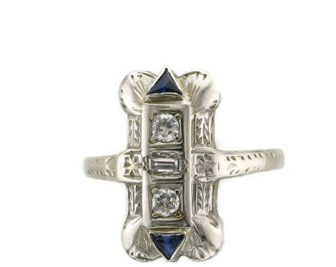 Diamond and Blue Sapphire Ring, Edwardian, Old European Cut Diamond, 18 Karat White Gold, Antique Ring