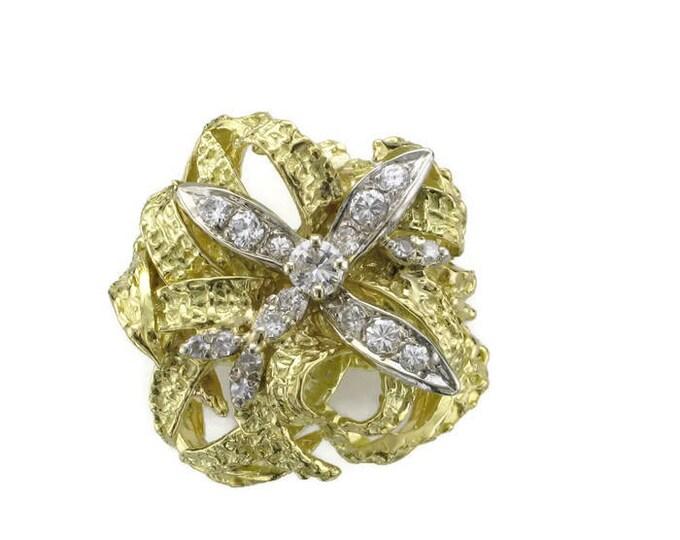 18 Karat Yellow Gold Diamond Nugget Free Form Ring; Diamond Cocktail Ring; Diamond Dinner Ring; Diamond Free Form Ring
