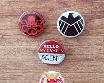 Agents of SHIELD inspired buttons - pinback or magnets ||| Avengers Marvel Hydra Coulson