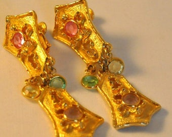 ON SALE Vintage Goldette Golden Dangle Earrings - Exquisite