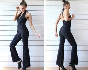 90s vintage sexy tight fitted black halter neck open back flare leg romper jumpsuit overall M