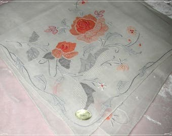 No. 200 ANTIQUE Swiss Cotton Hand Embroidered Handkerchief, Orange/Gray  Embroidery No. 46