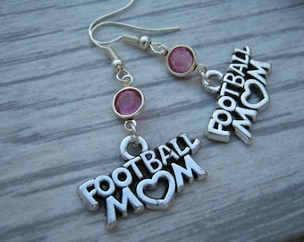 Football Mom Birthstone Earrings, Personalized Football Earrings, Football Jewelry, Sports Earrings, Athletic Jewelry, Football Mom Gift