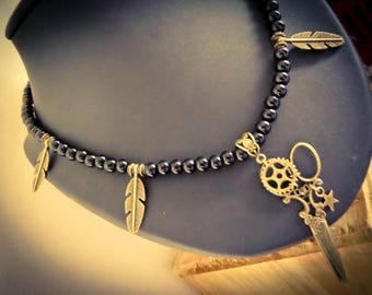 "Bronze necklace beads feathers steampunk Tim Burton ""Edward Bronze hands"""