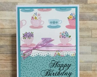 Greeting card, Handmade card, occasion card, birthday card, watercolor, teacup design