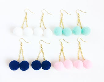 pom pom earrings baby pink-kawaii cotton candy-pale green pom pom earrings-kawaii earrings-ariana grande pompom earring-love factory NY