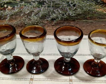 Rare Vintage Set of Four Amber / Mexican / Hand Blown / Bubble Seed Glass / Cordial / After Dinner Drink / Shot Glasses