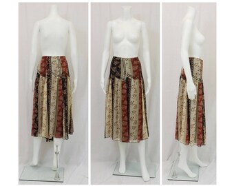 NINE WEST Boho Print Silk Skirt US Size 16