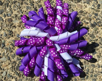 Hair Bow Clip - Korker / Corker Hair Clip with Purple, White and Polka Dot Ribbons