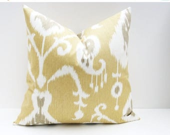 15% Off Sale Decorative Pillow Cover.Ikat Pillows. Yellow Pillow Cover. 16x16 inch pillow. Accent pillows. Cushion Cover Printed fabric on b