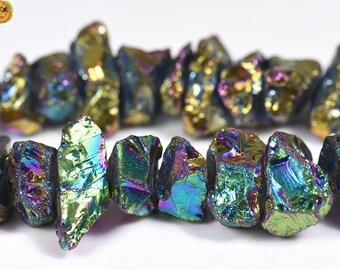 15 inch strand of Mystic Titanium Crystal Quartz rough nugget bead,cut nugget bead,rainbow color  6-10x12-21mm