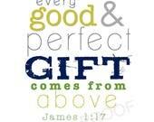 JAMES 1:17 // Christian Nursery Scripture Subway Art - Baby Boy Room Decor // New Baby Shower Gift