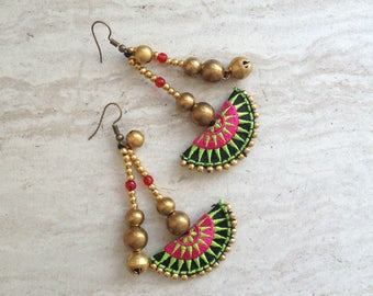 Half Moon Tribal Beaded Drop Earrings Hmong Pink Lime Textile Brass Bead Dangle Earrings