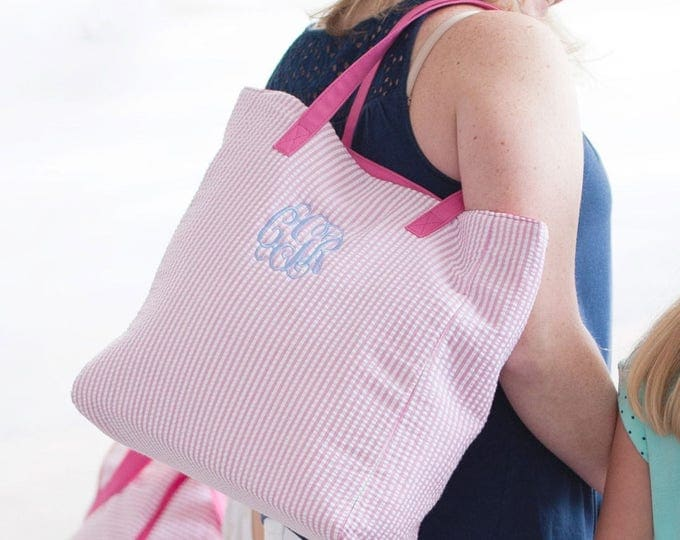 Seersucker Tote Bag, Monogrammed Tote Bag, Flower Girl Gifts, Bridesmaid Gifts, Personalized Gifts, Personalized Tote Bag, Diaper Bag