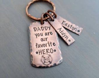 Firefighter dad keychain, gift for firefighter, daddy is my hero keychain, firefighter keychain, father's day gift for firefighter, dad gift