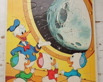 ON SALE Vintage 1965 Walt Disney Productions Puzzle, Donald Duck Huey Dewey & Louie Giving Looking At The Moon, 16 Pieces, Childrens Puzzle