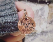 INDEPENDENCE DAY SALE Keychain Charm - Hand Stamped Lucky Us Penny - Key Ring Charm - Personalized - Pick Your Year!