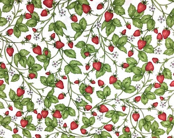 Strawberry Fabric - From the Farm - Cotton Fabric - Maywood Studio - FRUIT-02