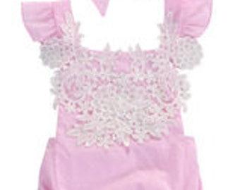 Baby Infant Girl Pink Vintage Lace Romper Sunsuit Bubble Sun Suit with Headband