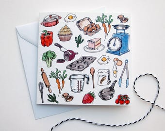 Cooking/Kitchen Art Greeting Card | Any Occasion | Blank Inside