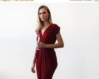25% OFF Wine red midi formal dress , Knee length Bordeaux short sleeves dress 1007