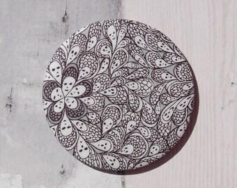 Fabric Covered Pocket Mirror Liberty Cranford Grey/Gray