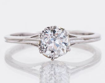 Antique Engagement Ring - Antique Platinum Diamond Solitaire Engagement Ring