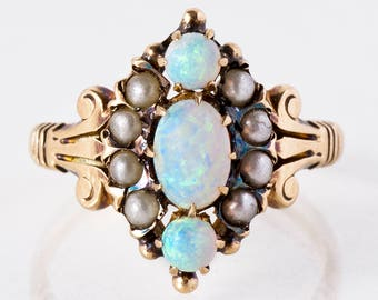 Antique Ring - Antique Victorian 14k Rose Gold Opal & Seed Pearl Navette Ring
