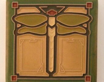 "Dragonfly Tile (Sage) 4"" x 4"" by Art and Craftsman Tileworks"