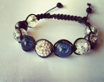 Adjustable Shamballa bracelet black rhinestone glass Crackle beads