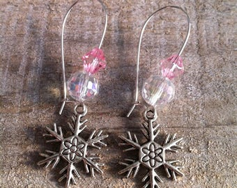 Snowflakes earrings large pale pink silver clasps
