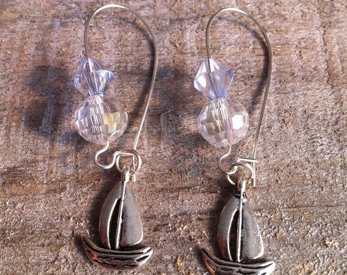 Large boats earrings sky blue silver clasps