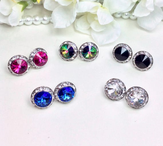Swarovski Crystal 10mm/15mm Stud Earrings with Halo -  Choose Your Favorite Color - Great Gift! - FREE SHIPPING