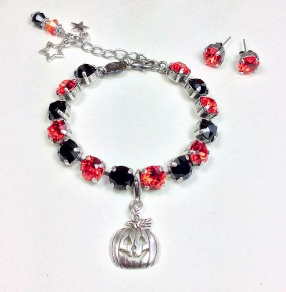 Swarovski Crystal 8.5mm Bracelet - Happy Halloween - Jack -O- Lantern Charm - Designer Inspired - FREE SHIPPING