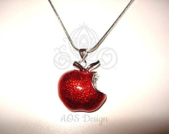Disney Princess Snow White Red Apple Sterling Silver Pendant Swarovski Crystal Descendants