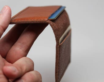 Handmade in USA: Leather Wallet Minimalist. Credit Card / Business Card holder