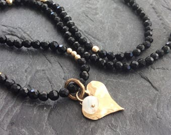 Black spinel necklace - heart charm necklace, Black and Gold bohemian chic, dainty necklace, birthday gift for her by mollymoojewels