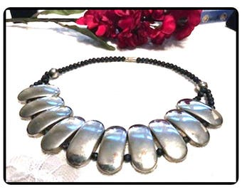 Black Coral Beads & Sterling Panel Necklace -  BOHO Tribal Style - Artisan Design Sterling Silver Signed 925 - Neck-1132a-061417075