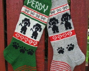 Hand Knit Christmas Stockings for Pets - Dogs and cats Personalized Wool White Gray Red Black Green Cat Dog ornaments