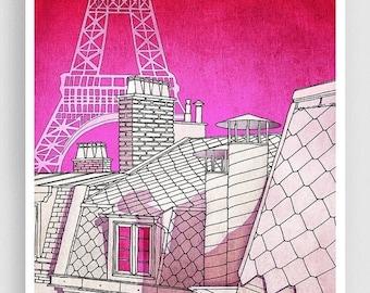 30% OFF SALE: Paris rooftops - Paris illustration Art Illustration Print Poster Paris drawing Home decor Nursery decor Kids wall decor Pink