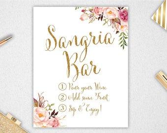 Sangria Bar Sign // INSTANT DOWNLOAD // Printable // 11x14 // Bridal Shower // #PBP90